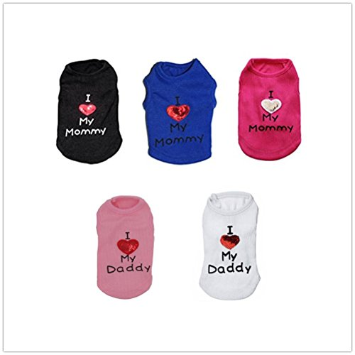 41bsmDIO30L - vmree Dog Apparel, Small Pet Dog Daday Mommy Face Printing Clothes Puppy Fleece T-Shirt