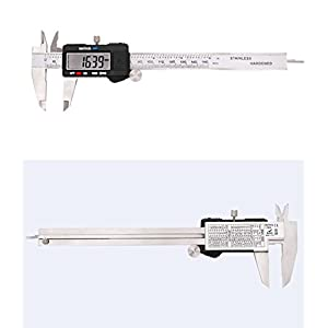 Electronic Digital Caliper 0-6 inch/150mm Vernier Extra Large LCD Screen, Stainless Steel Body, Conversion Millimeters Inches Precision Measurement Tool Depth Inside Step Outside Gauge Auto Off, Case