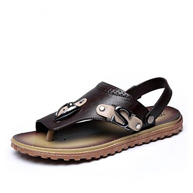 SHOES-XJIH&Uomini sandali estivi PVC Slingback outdoor casual tacco piatto,Black,US12 / EU45 / UK11 / CN48