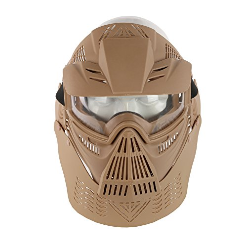 YASHALY Paintball Mask, Adjustable Transformers Leader Mask Full Face Tactical Gear with Goggles Eye Protection for Airsoft CS Game (Tan) ()
