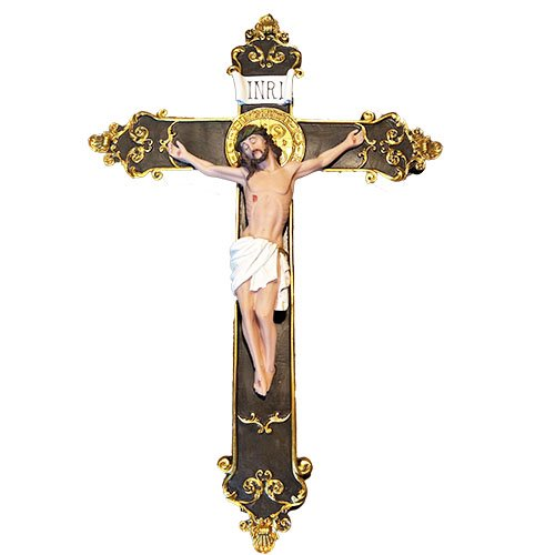 - 24 Inches Wall Mounted Resin Jesus Christ on Inri Cross Wall Crucifix Home Chapel Decoration (Beige)