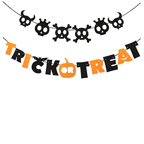 Tinksky Trick or Treat Halloween Garland Banner Hanging Decoration Indoors Nonwoven Halloween Banner (Trick Or Treat Decorations)