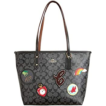 8f17be922695 Coach Signature Wizard of Oz Patches City Zip Tote Bag Handbag (Black Smoke  Multi)