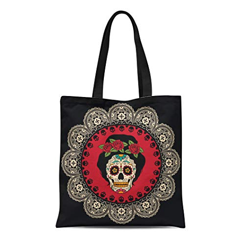 Semtomn Cotton Canvas Tote Bag Yellow Day Mexican Skull Girl Dead Tattoo Catrina Sugar Reusable Shoulder Grocery Shopping Bags Handbag Printed