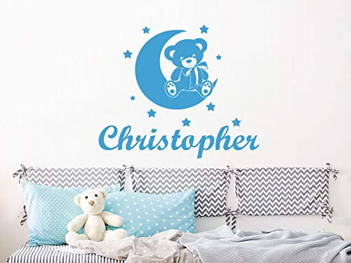 (Wall Decal Boy Name Teddy Bear Month Stars Sticker Personalized Name Nursery Baby Kids Custom Name Vinyl Sticker Decals Home Decor Art Bedroom Design Interior C466)