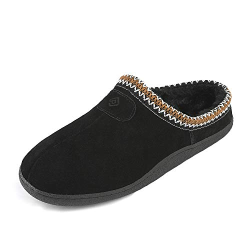 DREAM PAIRS Men's MUFFY_01 Black Faux Fur Slippers Loafers Flats Shoes Size 10.5-11 M - Insole Mens Sheepskin