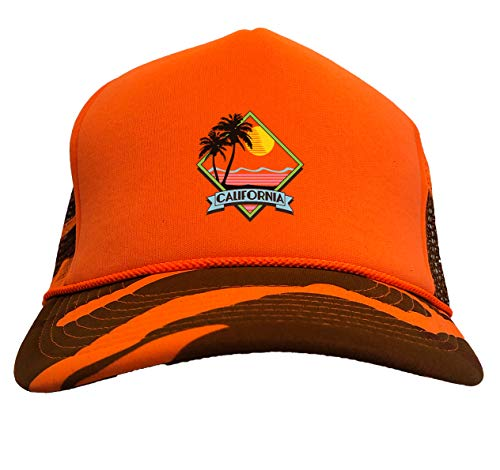 California Scene - Tropical Sunset Camoflauge Trucker Hat (Orange Hunting Camo) -
