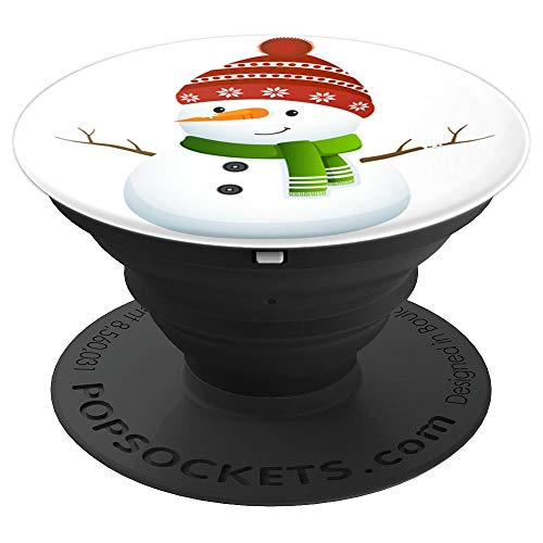 Snowman Wearing Green Scarf Funny Christmas Winter Holiday - PopSockets Grip and Stand for Phones and Tablets
