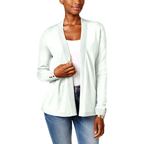 Charter Club Womens Open Front Ribbed Trim Cardigan Sweater Ivory L ()