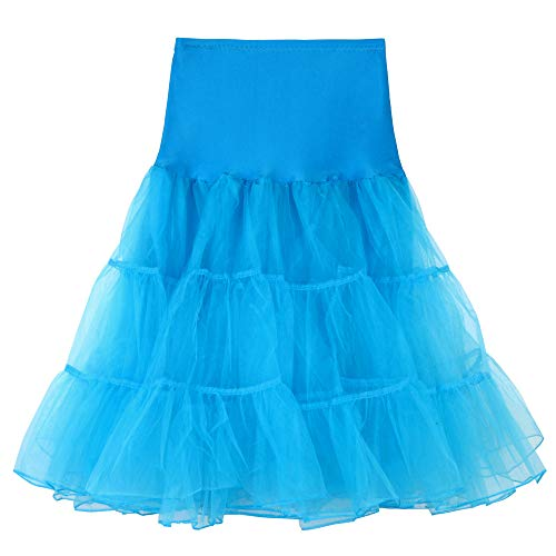 POQOQ Midi Skirts Women's Vintage A-line Printed Pleated Flared M Sky Blue -