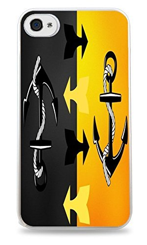 Trendy Accessories Black and Yellow Mirror Anchor with Arrows Print White Silicone Case for iPhone 4 / 4S