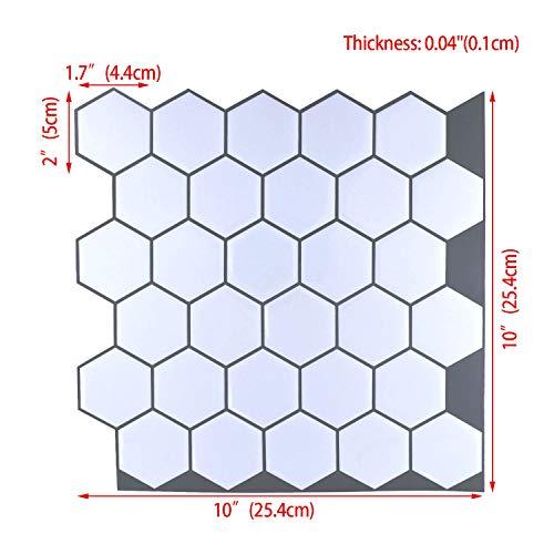 "Carrara Marble Backsplash,HONJAN Renters Groutless Removable Adhesive White Hexagon Vinyl Backsplash for Kitchen Bathroom 10""x10"" Pack of 13 (A) by HONJAN (Image #1)"