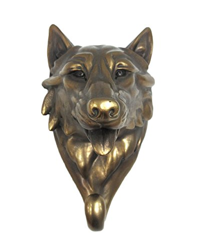 (Pacific Giftware Wild Animal Head Single Wall Hook Hanger Animal Shape Rustic Faux Bronze Decorative Wall Sculpture (Wolf))