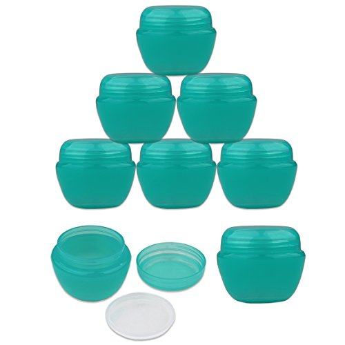 Beauticom 12 Pieces 50G/50ML TEAL Color Frosted Container Jars with Inner Liner for Lotion, Toners, Lip Balms, Makeup Samples - BPA Free