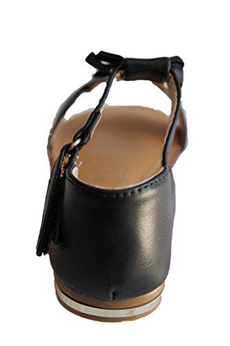 jili-sandale claquette-noire-fille