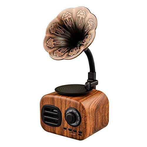 Techfans Vintage Retro Speaker Gramophone Bluetooth Record Player Turnable Radio Stereo Sound Box Mini Wireless Speaker Walnut Color