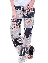 GRMO Las Mujeres Playa Casual Estampado de Flores elástico de Cintura Alta Pantalones de Pierna Ancha Palazzo