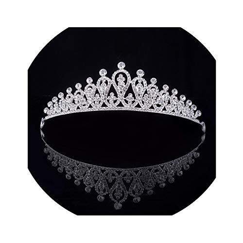 Baroque Vintage Blue Crystal Bride Crown Women Headdress Bridal Tiaras and Crowns Wedding Hair Jewelry Accessories Crown Fashion,Silver1 (Injector Molding)