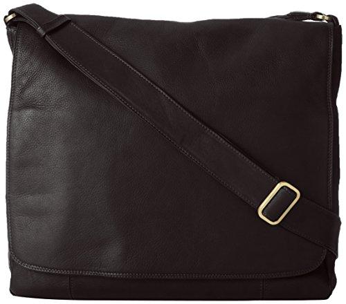 3/4 Flap Messenger Bag (Derek Alexander Large 3/4 Flap Unisex Messenger Bag, Black, One Size)