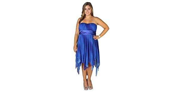 Deb Junior Plus Size Ombre Glitter Strapless Prom Dress with Hanky Hem Royal Blue 24 at Amazon Womens Clothing store: