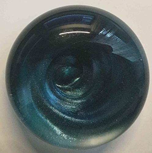 Hand Blown Glass Wine Bottle Stopper Aqua Swirl Iridescent