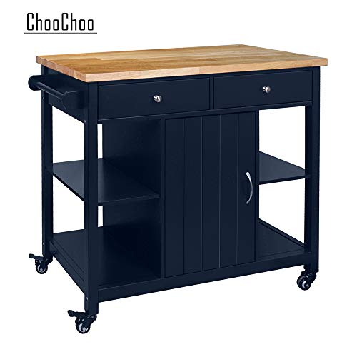 (ChooChoo Kitchen Islands Cart on Wheels with Natural Rubber Wood Top, Utility Wood Kitchen Cart with Storage and Drawers, Easy Assembly - Navy Blue)