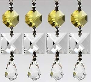 Cristal Suncatcher cadena con tiras de Prisma Octagon Feng Shui con SPECTRA CRYSTAL de Swarovski