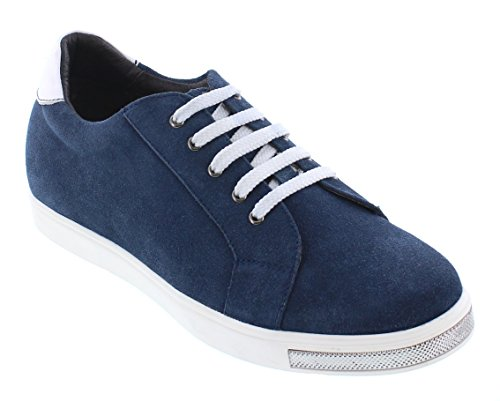 Calto Y26191-2.4 Inches Groter - Hoogte Toenemende Lift Schoenen - Blauw Fashion Sneakers