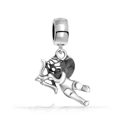 Bling Jewelry Cupid Dangling Charm Bead .925 Sterling Silver