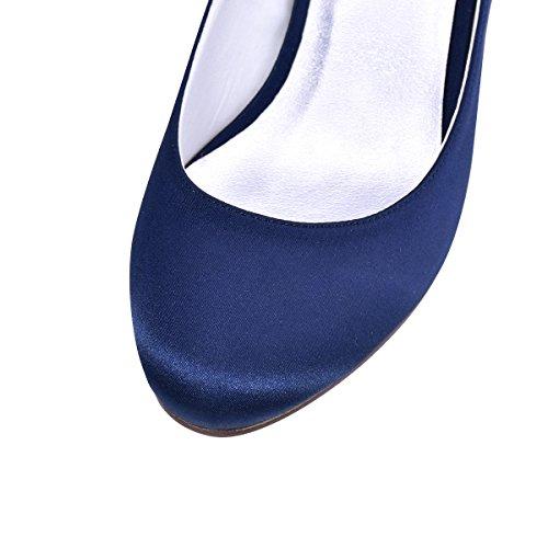 Pompe Cinturino Elegantpark Sera Caviglia Punta Sposa Chiusa Marina Tacco Blu Satin Scarpe Grosso Alla Donna Da rXXq4xw8