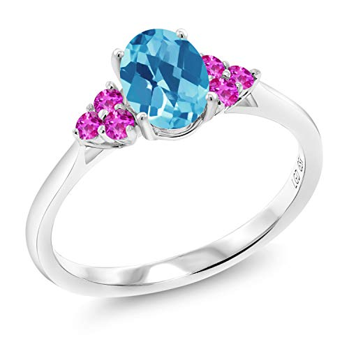 1.25 Ct Oval Checkerboard Swiss Blue Topaz Pink Sapphire 10K White Gold Ring (Size 9)