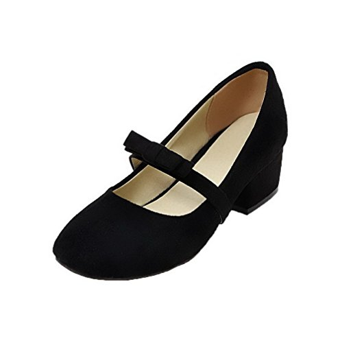 AllhqFashion Womens Solid Frosted Low-Heels Closed-Toe Pull-On Pumps-Shoes Black VBxeiFWWD
