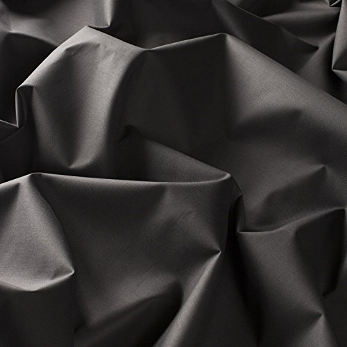 Ladyline Plain Lawn Cotton 2 Yards Cut Fabric Black Solid Color Dyed Material from India (Best Cotton Fabric In India)