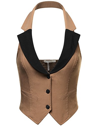FPT Womens Stretchy Cropped Halter Vest LATTE (Sexy Cropped Vest)