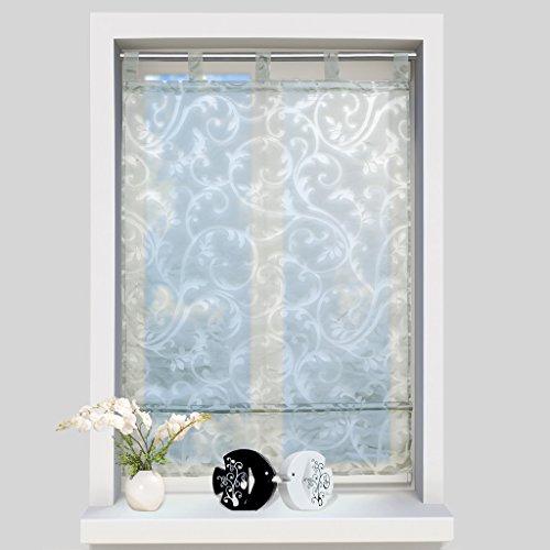 (ISINO 1 Piece Tab Top Sheer Voile Roman Shade Kitchen Balcony Drape Burnout Fabric Window Curtain W 23