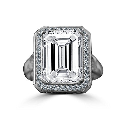 Diamond Veneer - 12 CT. Emerald Cut Important Vintage Micro Pave Halo Vintage Cocktail Engagement Ring (Clear, 8) -