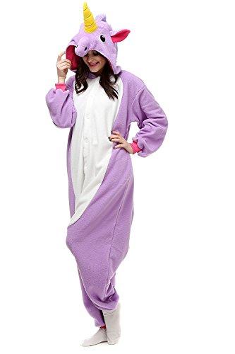 Adults Kigurumi Purple Unicorn Onesie Pajama Cute Animal Costume Cospaly Partywear Outfit Homewear (Cute Halloween Costumes For Men)