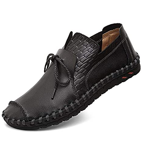 Xiazhi-shoes, El Cuero Genuino de los Hombres Que Conduce el holgazán ata para