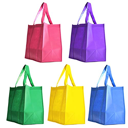 ([ 5 Pack ] Assorted Color Party Favor Gift Bags Non-Woven Polypropylene Grocery Shopping Promotional Tote Bags for Birthday, Wedding Giveaway, Business Promotional Goodie Bags (Summer Breeze, 5 Pack))