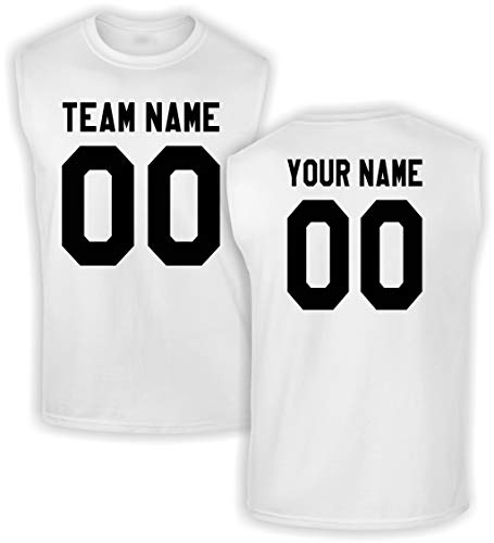Custom Jersey-Style Front and Back Sleeveless T-Shirt - Add Your Team, Name, and Number White