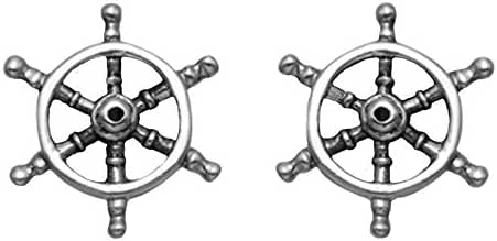 Stainless Steel Nautical Ship's Wheel Stud Earrings