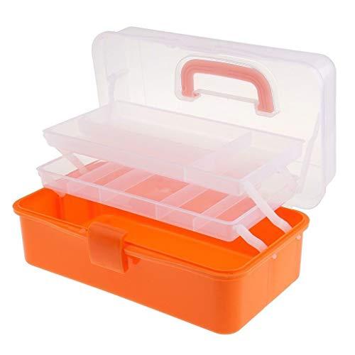 Protector Checkers Case (3 Tier Large Plastic Storage Box Nail Art Craft Makeup Organizer Collection Case (Colour - Orange))