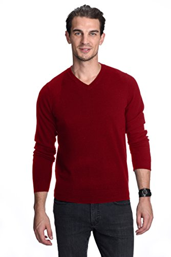 Design Cashmere Sweater (State Cashmere Men's 100% Pure Cashmere Long Sleeve Pullover V Neck Sweater, Burgundy, Large)