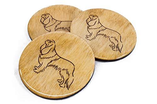 Premium Finish King Charles Cavalier Coasters - Set of 4 Handmade Engraved 3.5