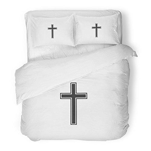 SanChic Duvet Cover Set Graphic Christian Cross on White Belief Believe Catholic Christ Decorative Bedding Set Pillow Sham Twin Size by SanChic