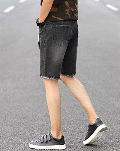 Estate Pantaloncini Di Scatto Nero Short Uomo Ragazzi Classiche Jeans Base Da Bermuda Jogger A Destrutturati xw7ttaTF