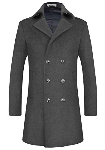Mens Wool Trench Coat Winter Blend Top Pea Coat Long Double Breasted Classic Stylish Business Overcoat