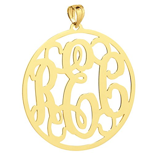 Solid 10k Yellow Gold Monogrammed 3 Initials 1 1/4 Inches Round Circle Monogram Pendant. (0)