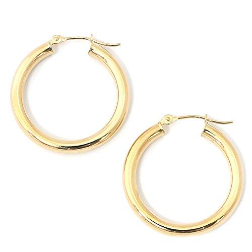 10k Gold Circle Hoop Earrings (10k Yellow Gold 3mm Hoop Earrings, 1