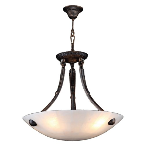 Worldwide Lighting Pompeii Collection 4 Light Flemish Brass Finish and Natural Quartz Bowl Pendant 16